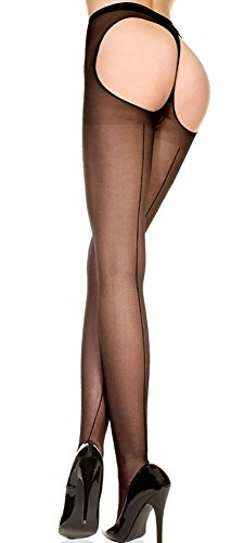 Music Legs Backseam Sheer Thong Back Pantyhose Black One Size Fits Most