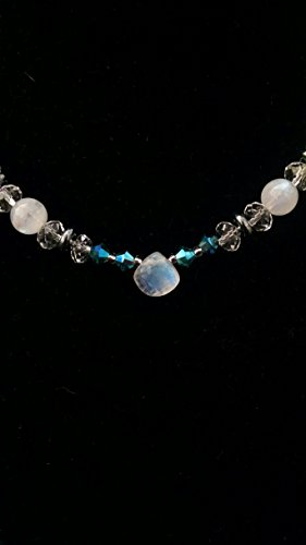 Rainbow Moonstone, crystal necklace and earring set