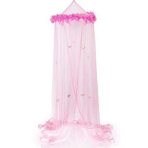 Boho and Beach Princess Feather Boa Bed Canopy Mosquito Net for Girls with Sparkly Hearts, Pink