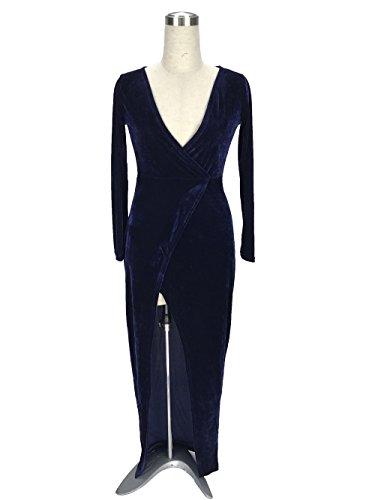 abito abito Dark elegante amp;S Blue festa lunga maxi di Donna MEI notte Natale Prom Palla di PwRXnqB