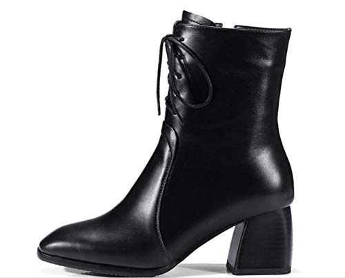 Womens Square Boots Thick Leather Zipper Martin Stick Shiney Blacksingle Head Low qdwHn1x1Xt