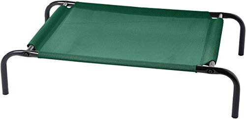 AmazonBasics Small Elevated Cooling Pet Dog Cot Bed - 36 x 22 x 7.5 Inches, Green