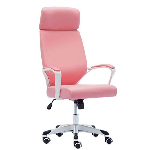 QERNTPEY Computer Gaming Chair Office Chair Computer Desk Chairs Swivel Leather Chair Adjustable Cute Cloth Chair for Lady White and Pink Office Chair with Footrest (Color : Pink) ()