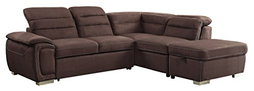 Homelegance Platina 103″ Sectional Sofa with Pull Out Bed and Ottoman, Chocolate Fabric