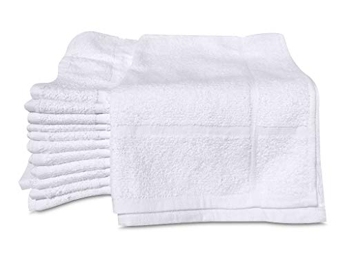 GOLD TEXTILES 12 New White 100% Cotton Economy 20X30 Inches Hotel Bath Mats
