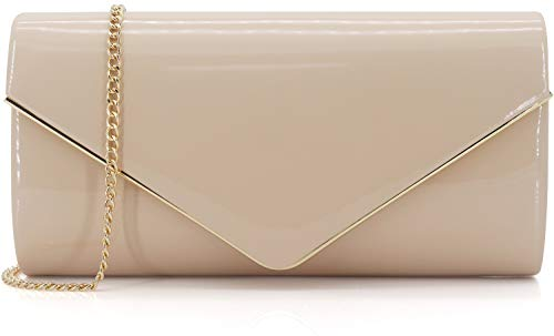 Dexmay Patent Leather Envelope Clutch Purse Shiny Candy Foldover Clutch Evening Bag for Women Nude