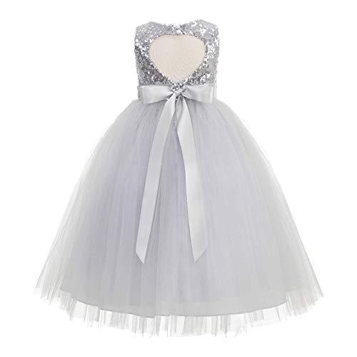 ekidsbridal Heart Cutout Sequin Junior Flower Girl Dress Christening Dresses 172seq 10 Silver