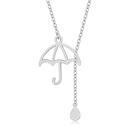 MANZHEN Personalized Umbrella Lariat Y Necklace with Rain Drop Unique Necklace (silver) by MANZHEN