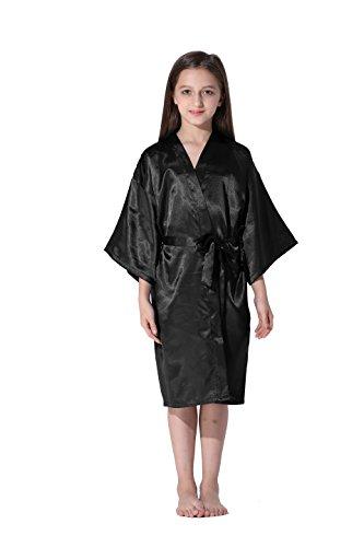 Vogue Forefront Girls' Satin Plain Kimono Robe Bathrobe Nightgown, Size 6, - Vogue Black