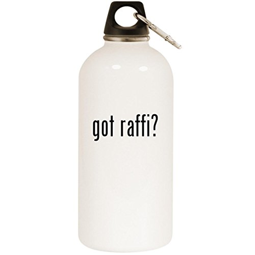 Molandra Products got Raffi? - White 20oz Stainless Steel Water Bottle with Carabiner
