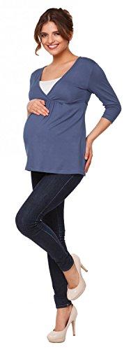 Happy Mama Premamá. Top Camiseta de lactancia efecto 2 en 1 - para mujer - 372p Azul Gris
