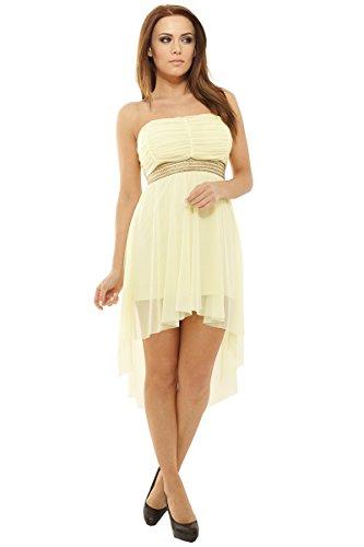 cad26b20ea58 Sexy Vokuhila Kleid Partykleid, Abendkleid, Cocktailkleid aus Feintüll,  verschiedene Farben Gelb