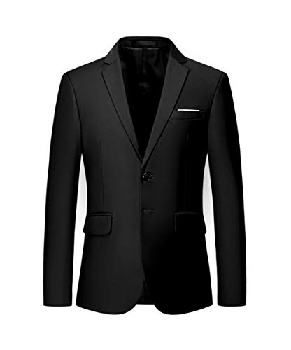 MOGU Mens Suit Jacket Slim Fit Single Breasted Two Button 10 Colors US 36 Asian 2XL Black