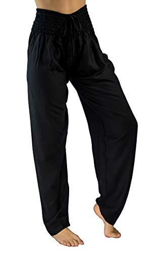 PI Yoga Pants - Women's Tall Straight Leg, Loose Comfortable Boho Athleisure Wear (Stretches Size 0-10) - Black