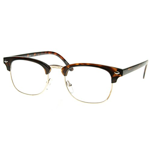 MLC EYEWEAR Vintage Inspired Classic Half Frame Nerdy Glasses UV400 Clear Lens