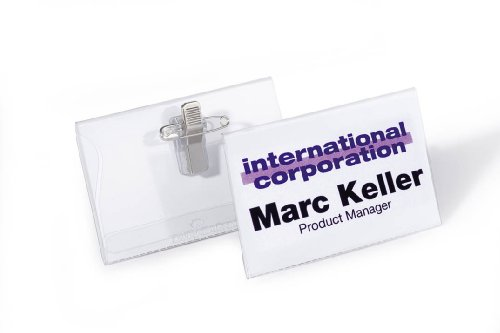 Durable Combi Clip Badge - Durable Combi Clip Name Badge 40 X 70 Mm (Pack Of 50)