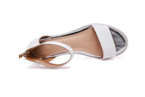 AllhqFashion Womens Zipper Low Heels Cow Leather Solid Open Toe Sandals White TNfwIVW9