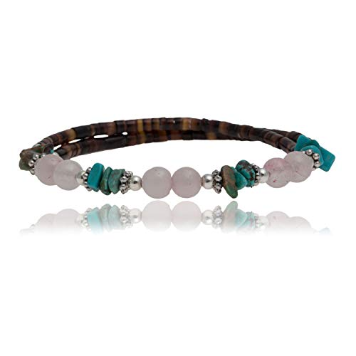 $80Tag Certified Navajo Turquoise Pink Quartz Native American WRAP Bracelet 12733-1 Made by Loma Siiva