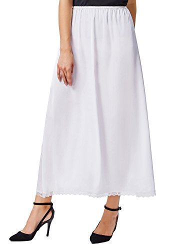 Women Long Half Slips with Lace Trim White Elastic Waist L ()