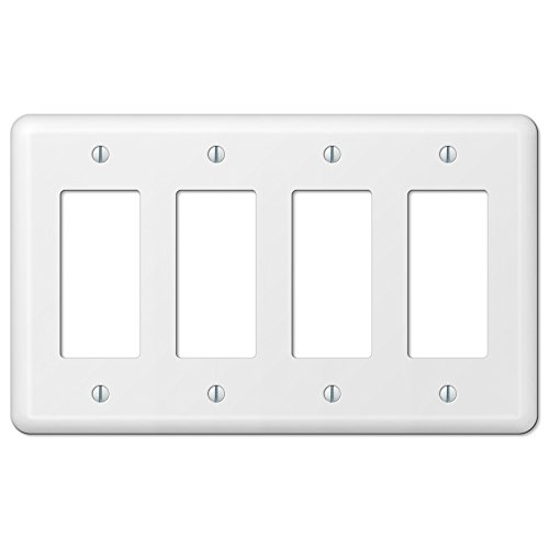 White Metal Quad 4 Rocker GFCI Decora Wall Plate Cover Enamel (Gfci Quad)