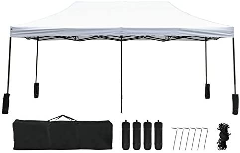 FDW Pop Up Canopy 10×20 pop up Canopy Tent Folding Protable Ez up Canopy Party Tent Sun Shade Wedding Instant Better Air Circulation Outdoor Gazebo