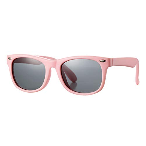 Kids Polarized Sunglasses TPEE Rubber Flexible Shades for Girls Boys Age 3-10 (Pink Frame/Grey ()