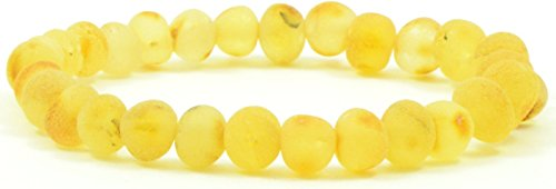Raw Amber Bracelets {0013} for Adults made on Elastic Band - 7 inches - AmberJewelry - Hand-Made from Unpolished / Certified Baltic Amber Beads (7 inches (18 cm), Lemon)