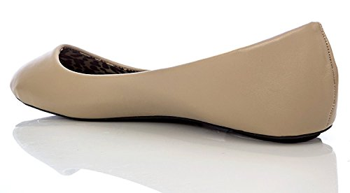 Charles Albert Femmes Basique Fermé Bout Rond Ballet Plat Slip Sur Chaussure Naturel