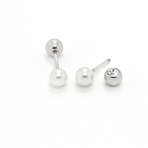 Clide+ Pearl Stud Earrings Piercing Hypoallergenic Crystal Screw back ball Surgical steel with safety back