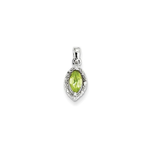Sterling Silver Diamond and Simulated Peridot Pendant (7mm x 16mm)