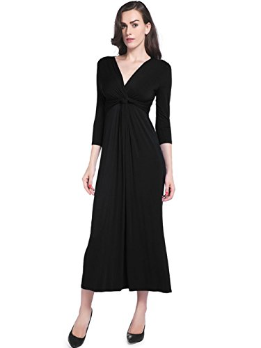 3/4 Sleeve V-neck Knot (Loveternal Womens 3/4 Sleeve V Neck Dress Summer Casual Solid Color Knot Front Maxi Party Dresses Large Black)