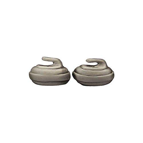 Curling Rock Stud Earrings: Pewter (Rocks Curling)