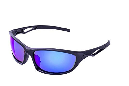 - Clear Lake Leman Polarized Sport Sunglasses for Men & Women Black Wrap Frame Blue Mirror Lenses for Running Driving Baseball Hiking