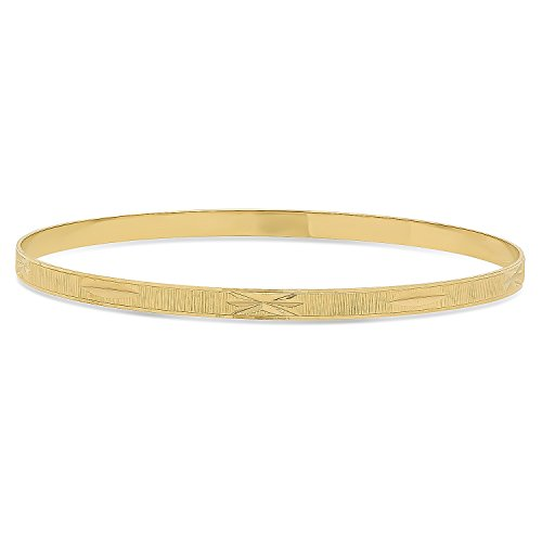 The Bling Factory 4mm Gold Plated Ridged Bangle Bracelet with Etched Design, Circumference: 8.25