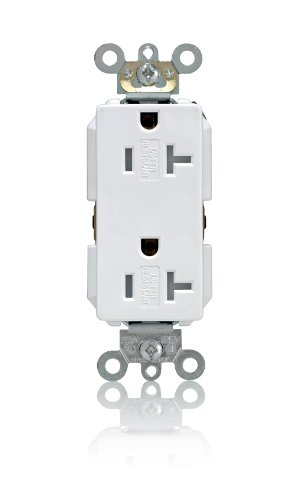 Leviton TDR20-W 20 Amp, 125 Volt, Tamper Resistant, Decora Plus Duplex Receptacle, Straight Blade, Commercial Grade, Self Grounding, White
