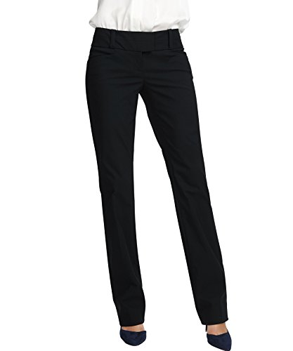 YTUIEKY Women's Straight Pants For Work Casual Wear Stretch Black