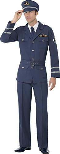 Smiffy's Men's WW2 Air Force Captain Costume, pants, Jacket, Hat and Tie, Wartime 40's, Serious Fun, Size L, 38830