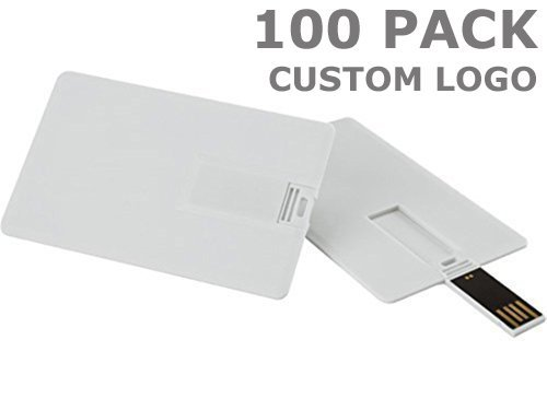 Enfain 1GB Custom Your Logo Promotional USB Flash Drives - Credit Card Style - 100 Pack ()
