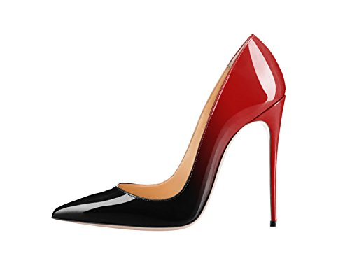 SexyPrey Women's Pointy Toe Stiletto Heels Plus Size Gradient Color Court Shoes for Party Wedding Black and Red Patent Uk7