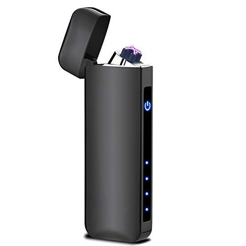 Dual Arc Plasma Lighter Battery Indicator Windproof USB Rechargeable Sleek Design Cool Looking Indoor Outdoor Electric Lighter for Candles Fireworks Incense Campfire Ect. (Black)