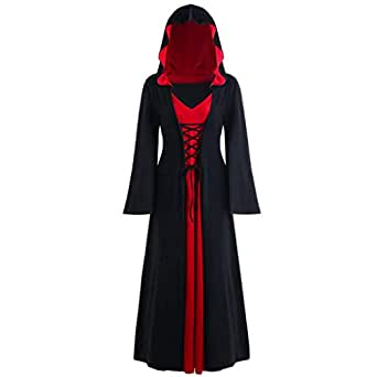 Ausexy Hooded Lace Up Patchwork Long Sleeve Long Dress for Christmas Halloween Cosplay Costumes Black