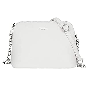 David Jones – Women's Small Crossbody Bag – Chain Shoulder Bag – Saffiano PU Faux Leather Rigid Messenger Bag – Evening Party City Clutch – Ladies Zip Handbag – Fashion Elegant Simple – White