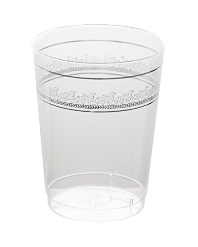 Posh Setting Clear 10 oz. plastic Tumblers (cups) with Silver Prestige Design 10 Pack