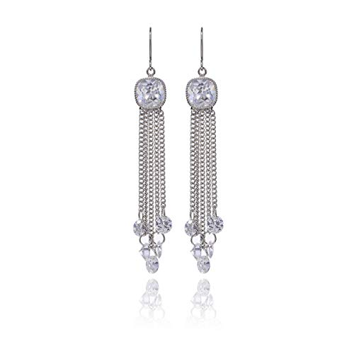 (birthtany CZ Long Chain Tassel Earrings Women's Sterling Silver Square Cubic Zirconia Crystal Rhinestone Fish Hook Sleek Strand Dangle Drop Earrings for Wedding Party Prom Fashion Statement Jewelry)