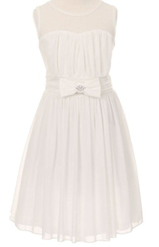 Big Girls' Darling Sweetheart Chiffon Gown Bow Crystal Flowers Girls Dresses Ivory Size 8
