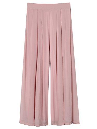 Choies Women's Chiffon Pleated Plain Elastic Waist Wide Leg Palazzo Pants Purple