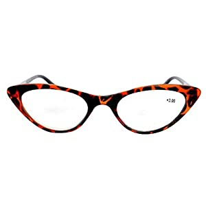 The Cat's Meow Colorful Ladies Cat Eye Reading Glasses, Full Frame Readers, 1950s Vintage Reading Glasses for Women + 2.00 Tortoise (Microfiber Cleaning Carrying Pouch Included)