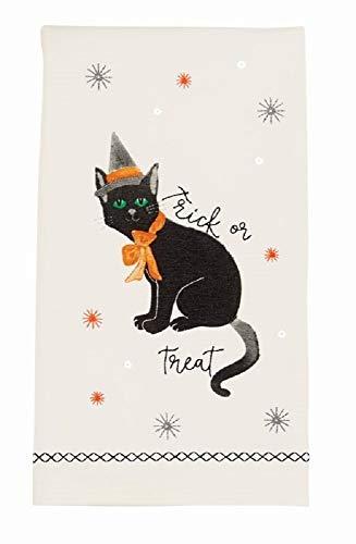 Mud Pie Halloween Cat Sequin Hand Towel, 28-inch x 21-inch (Black) -
