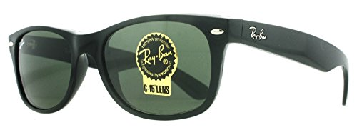 Ray-Ban RB2132 New Wayfarer Sunglasses Black w/Green (901L) RB 2132 901L 55mm - 2132 Ray Sizes Ban