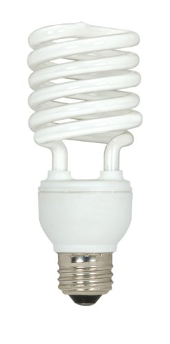 Satco S6274 23-Watt Medium Base T2 Mini Spiral, 2700K, 120V, Equivalent to 100-Watt Incandescent Lamp for Enclosed Fixtures, 3-Pack (Lamp Fluorescent Spiral)